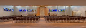 a wide panorama of the main sanctuary space at Congregation Bnai Tikvah in Deerfield Illinois