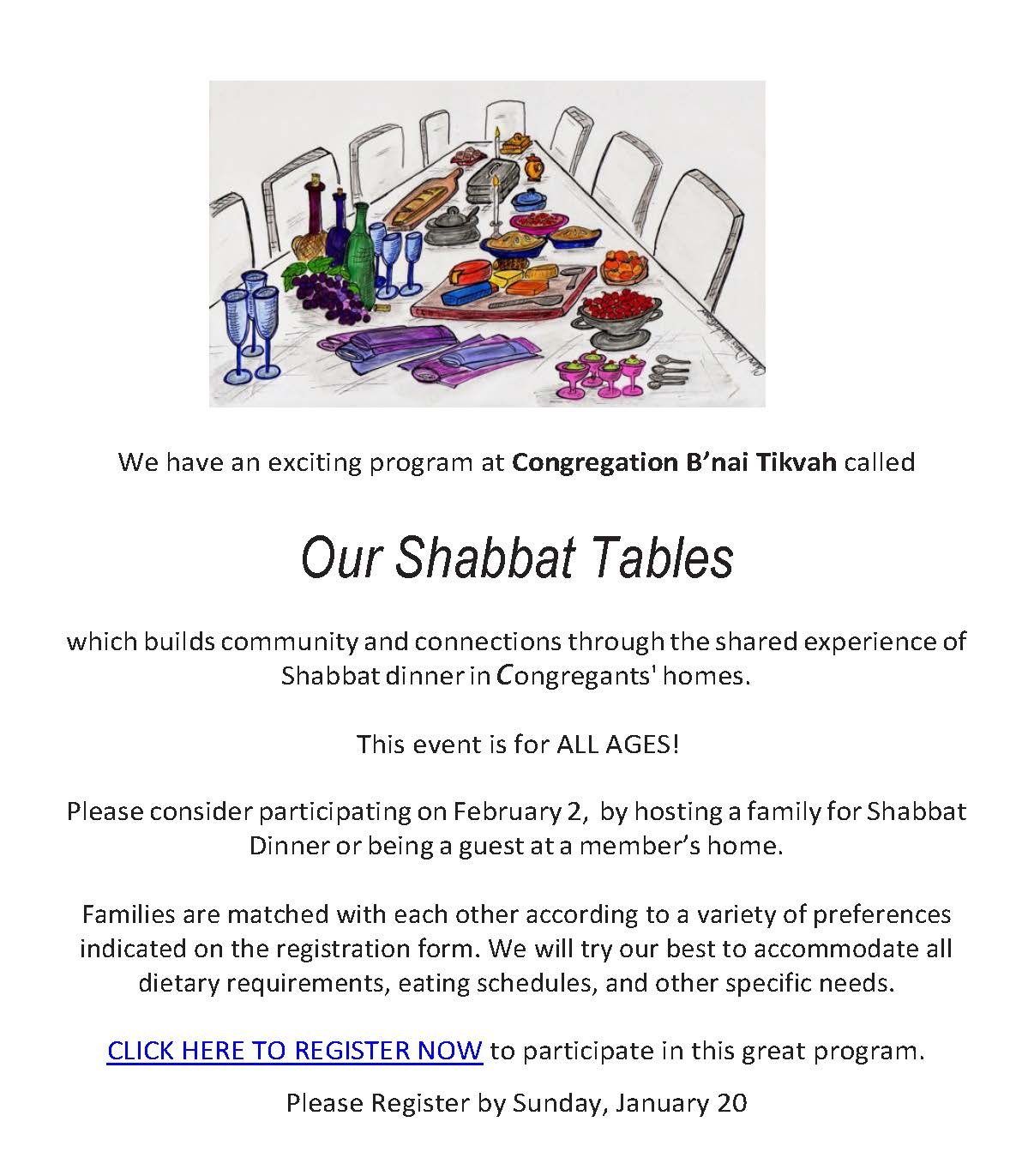 Our Shabbat Tables - February 2