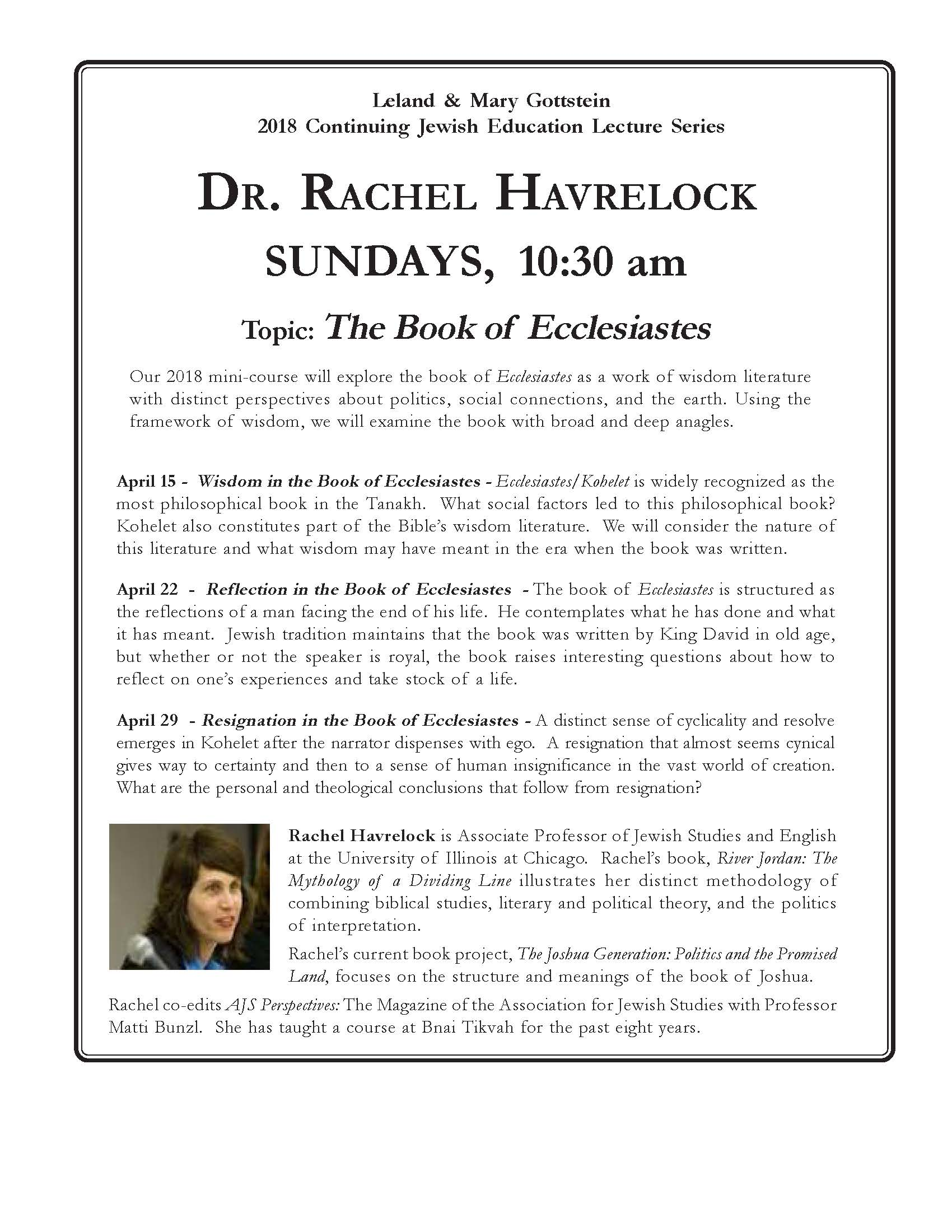 Leland & Mary Gottstein 2018 Continuing Jewish Education Lecture Series Presents Dr. Rachel Havrelock