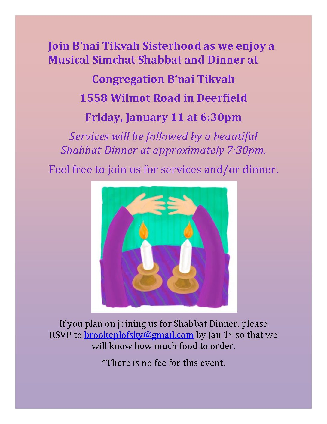 Sisterhood Musical Simchat Shabbat and Dinner