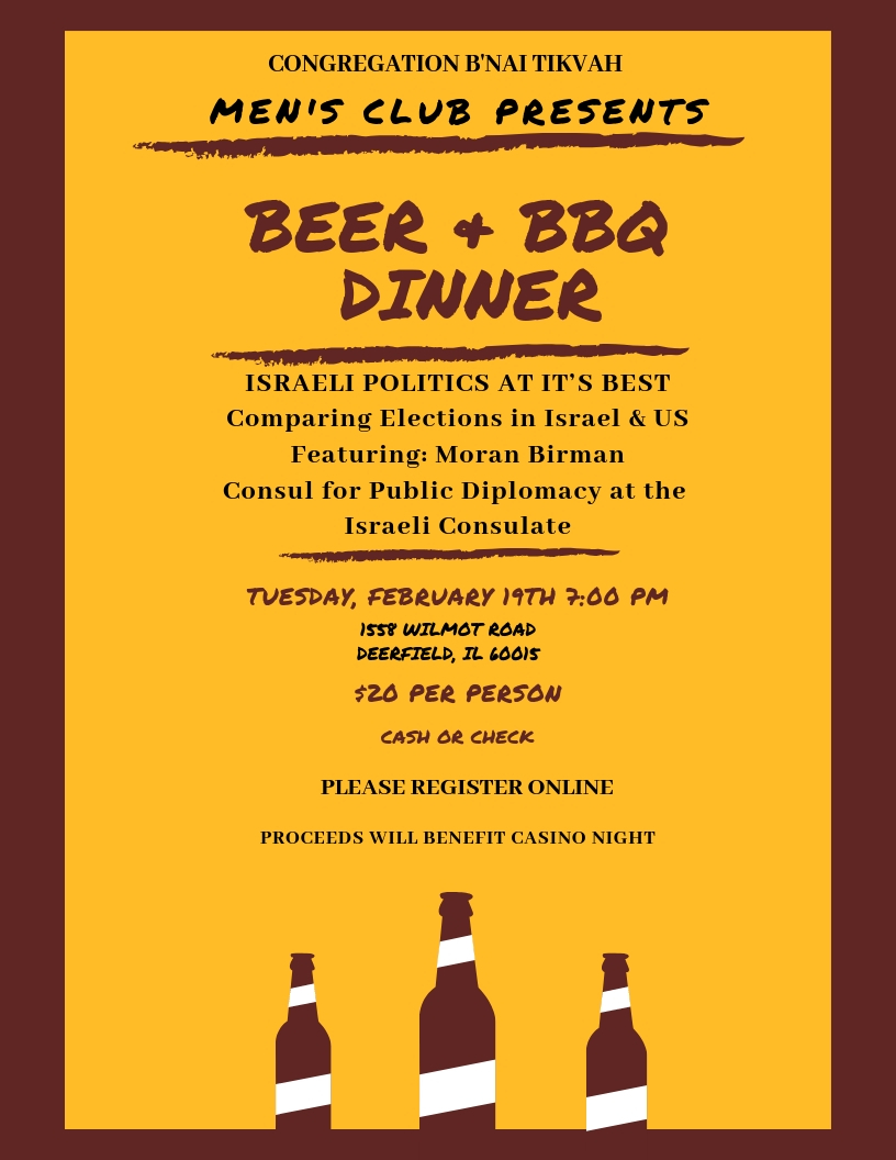 Men's Club Beer and BBQ Dinner