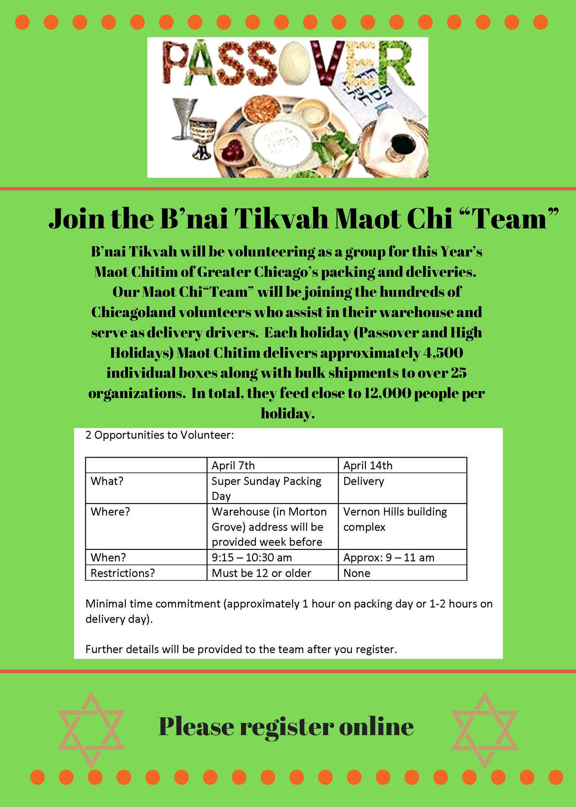 "Join the B'nai Tikvah Maot Chi ""Team"""
