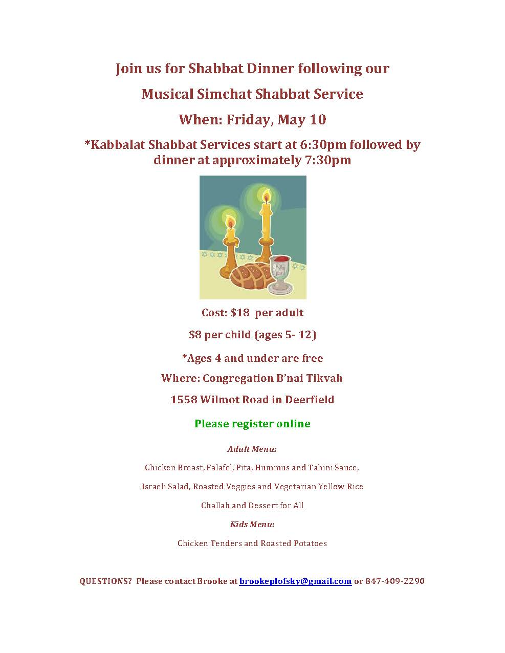 Musical Simchat Shabbat Service and Dinner